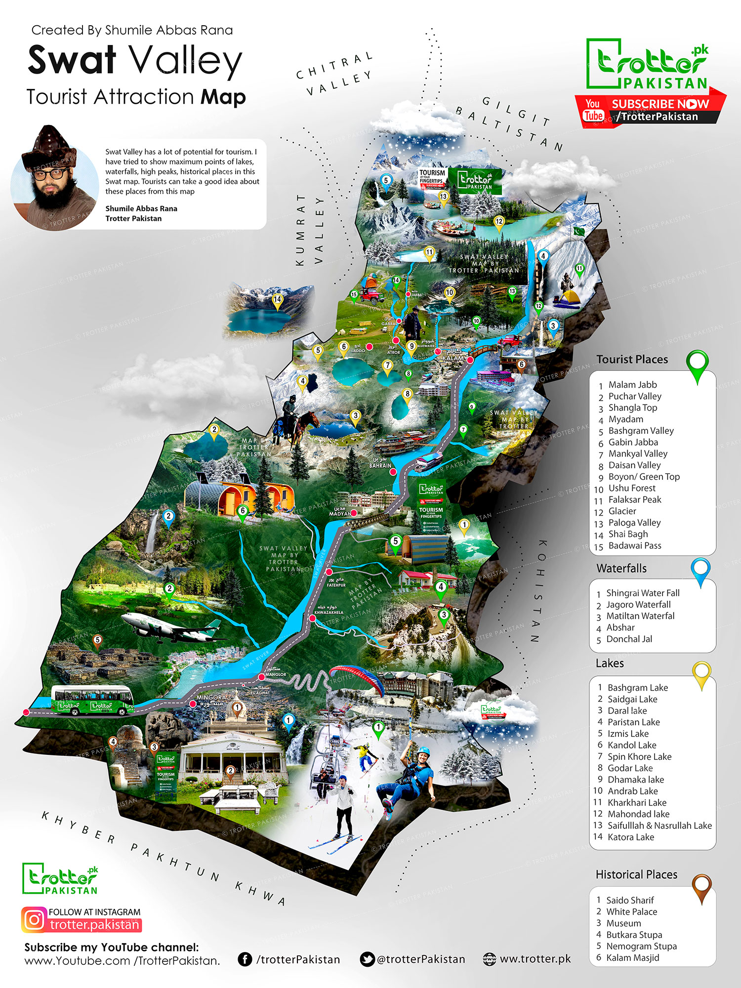 Swat Valley Tourist Map 2021